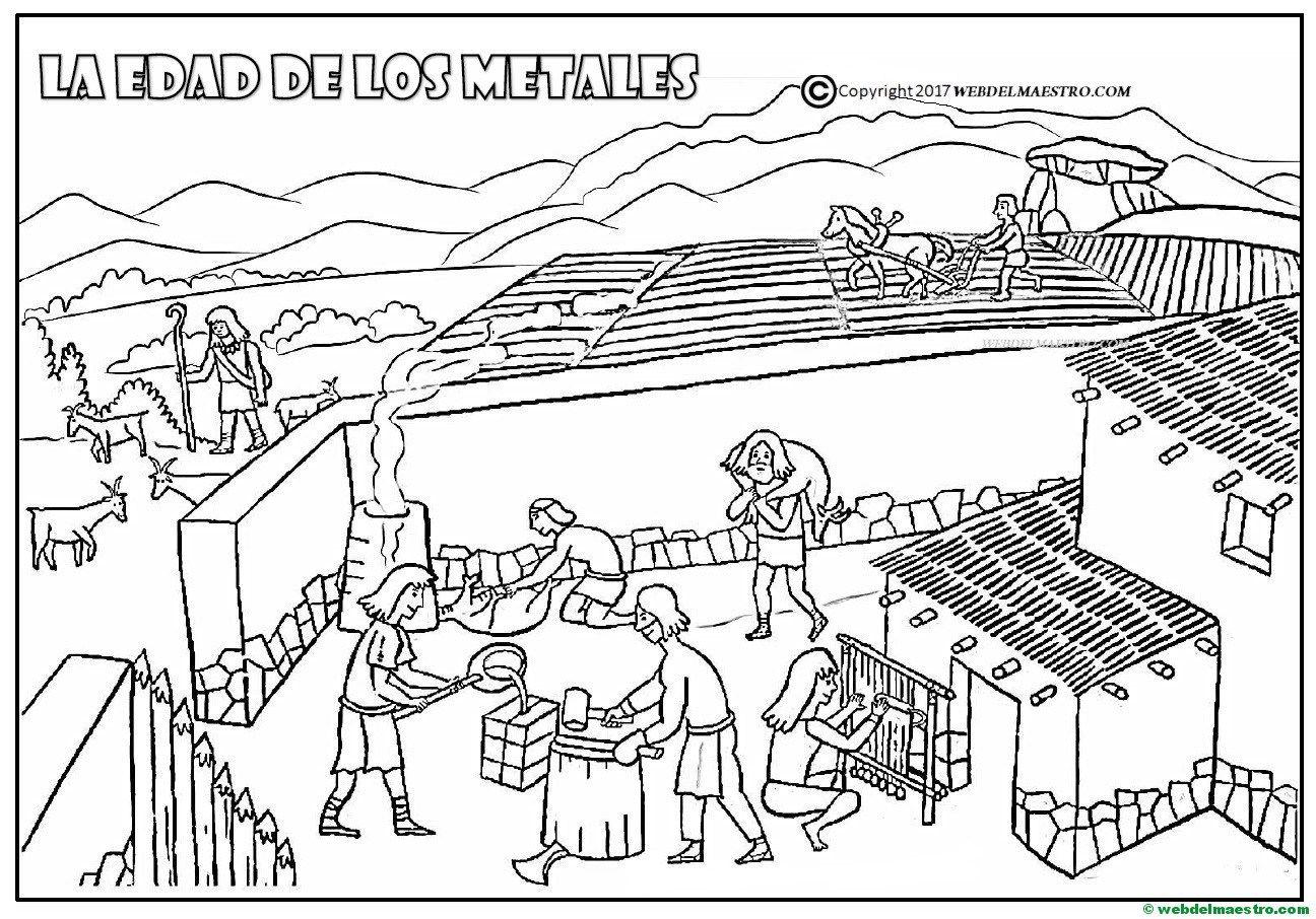 Dibujos De Prehistoria Para Ninos Para Colorear: Dibujo Para Colorear De La Edad De Los Metales
