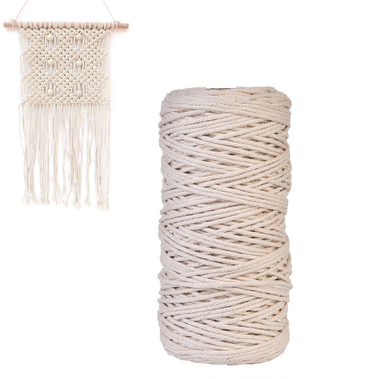 3mm Natural Beige Cotton Twisted Cord Rope Artisan Macrame String DIY Craft 200m