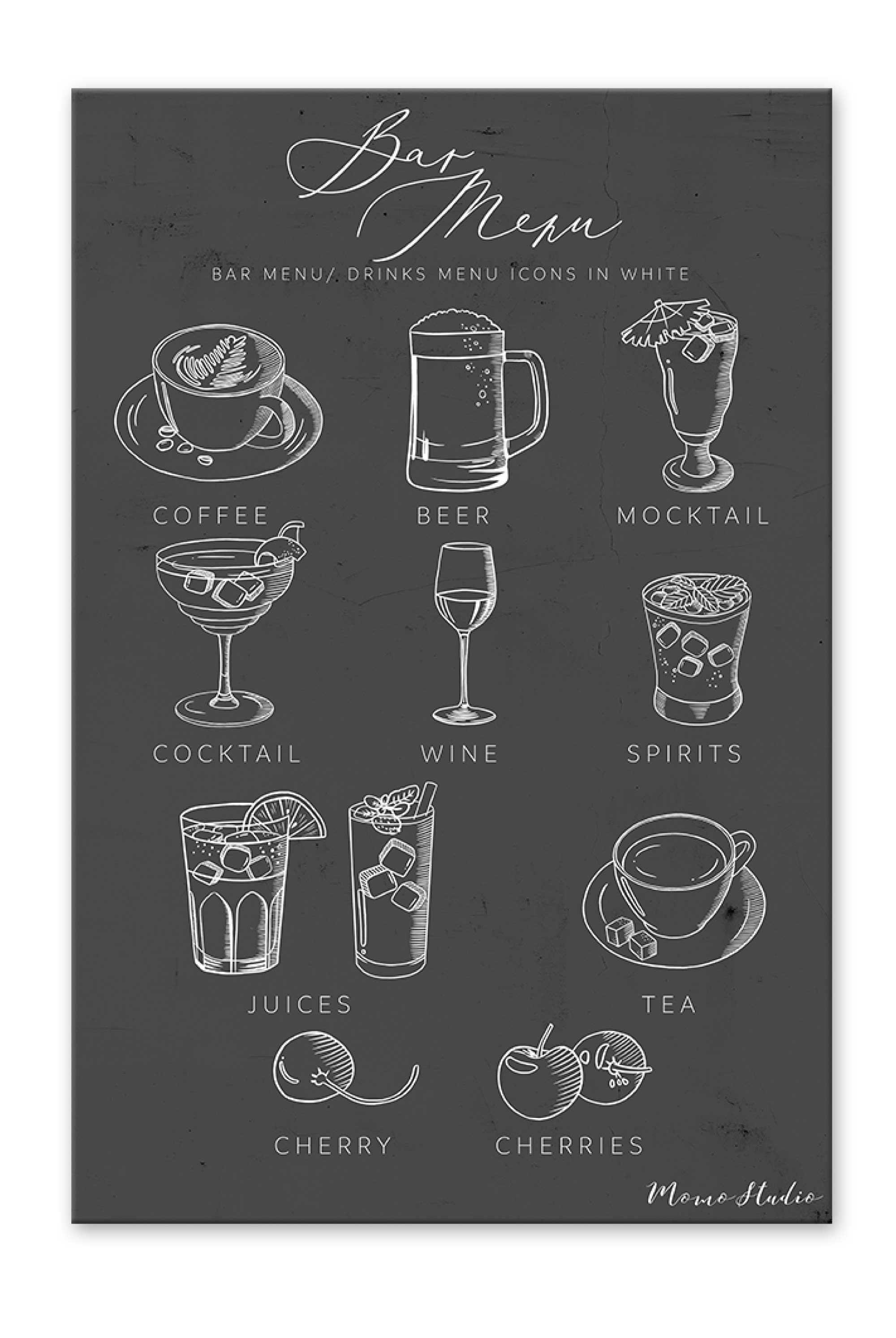 Bar Menu Icons Beer, Cocktail, Juice, Mocktail, Spirits