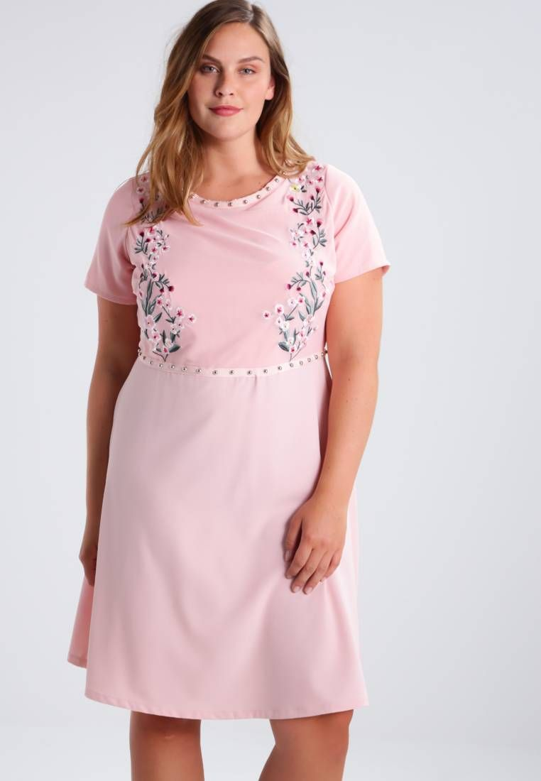 new look curves. summer dress - pink. outer fabric material