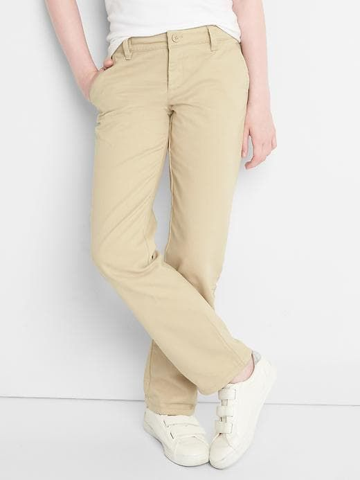 84c769fe2be Gap Girls Uniform Stain-Resistant Stretch Straight Chinos Wicker