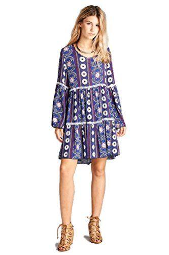 b8e86d882a7 Boho-Chic Vacation & Fall Looks - Standard & Plus Size Styless - Velzera  Crochet & Bell Sleeve Bohemian Print Tunic Dress Plus Size (Purple)