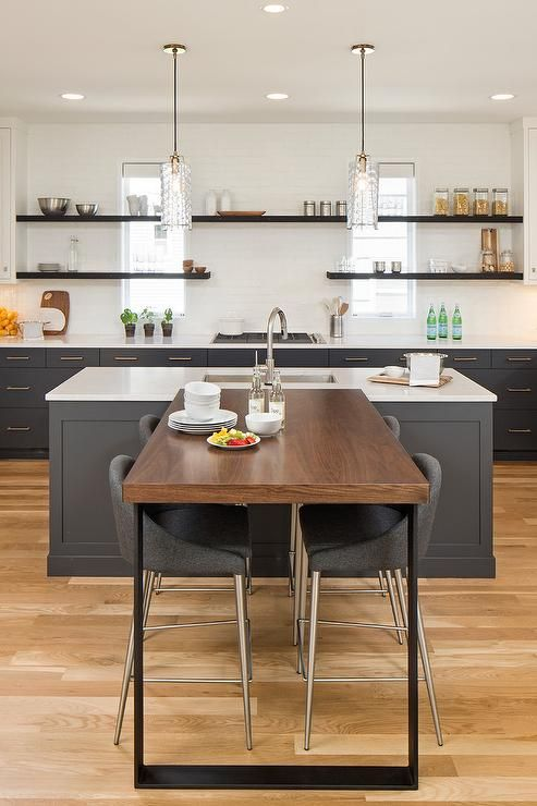 This T Shaped Breakfast Bar Showcases A Wood Top Table With Black Iron Legs That Connects To A Charc Grey Kitchen Island Kitchen Bar Table Kitchen Island Table