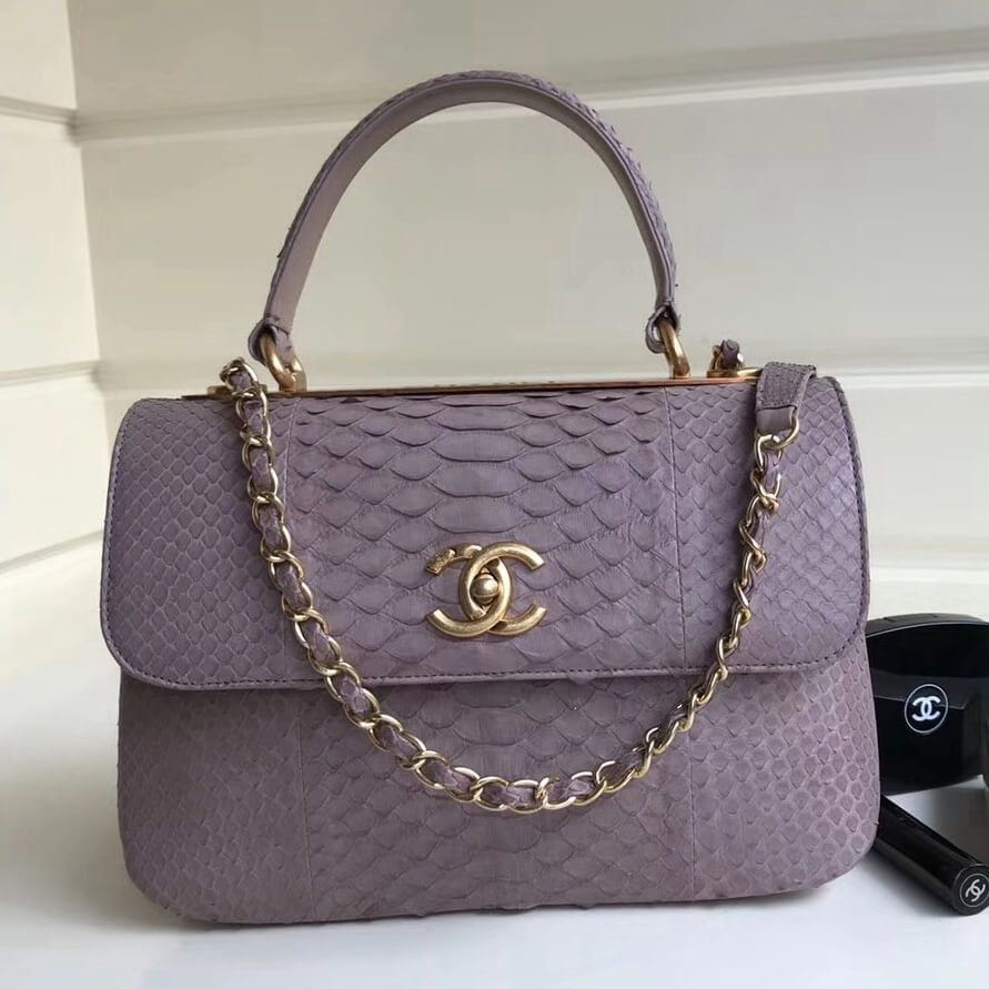 13ed43290ef9 Chanel Small Trendy CC Flap Bag With Top Handle In Python Leather Lavender  2018