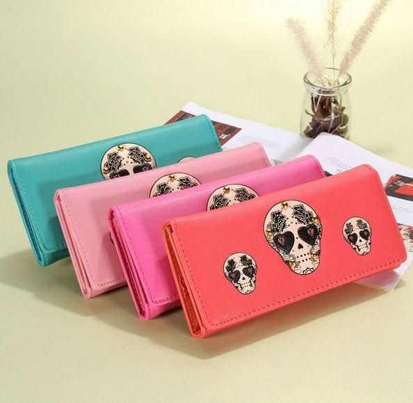 Sugar Skull  Wallet - Blue - Orange - Pink - Light Pink