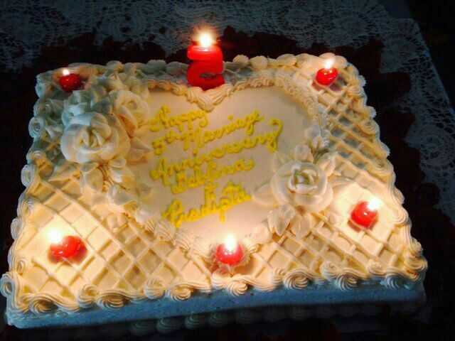 Beautiful white lattice heart cake for our wedding anniversary from ...