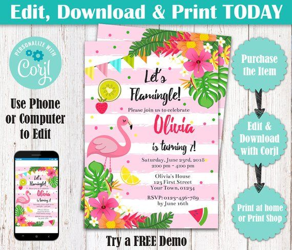 flamingo birthday party invitation let s flamingle birthday