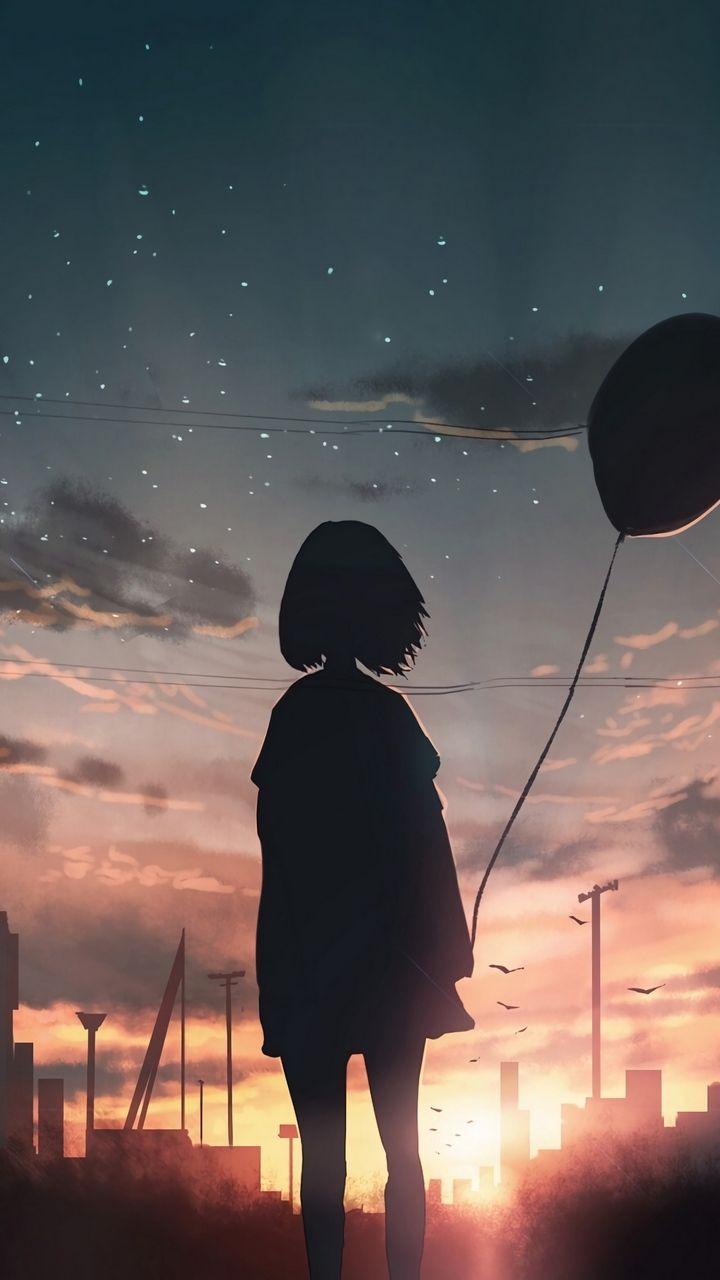Скачать 720x1280 девушка, силуэт, воздушный шар, з