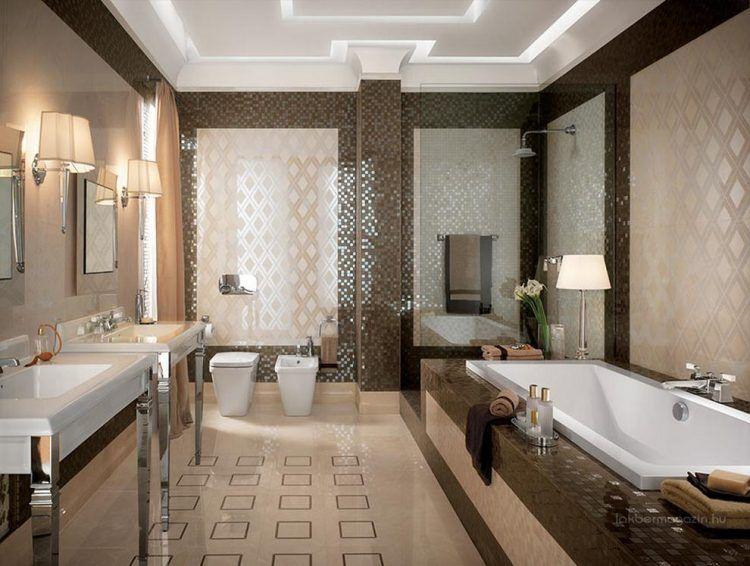 Természetes színek, modern fürdőszoba burkolat ötletek - semleges ...