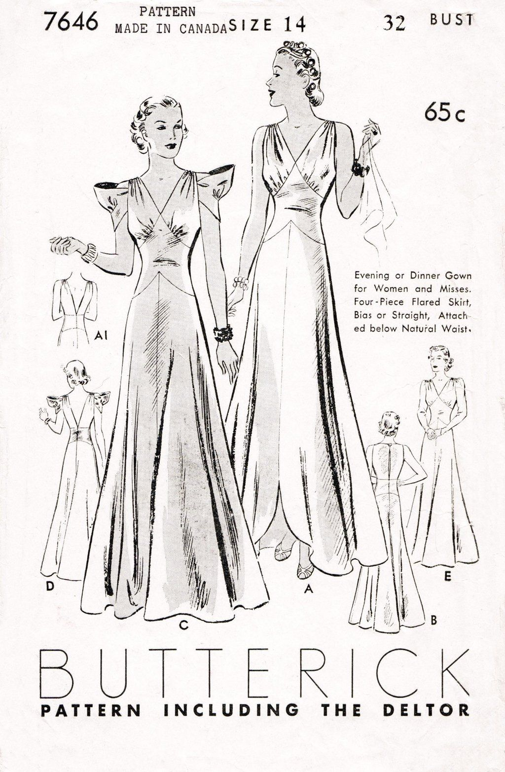Vintage Sewing Pattern 1930 Frock Evening Dress Dinner Slender Wedding Daisys