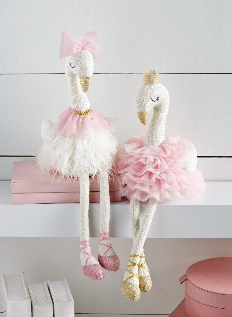 Mud Pie Kids Plush Swan Ballerina Baby Dolls-White Tutu