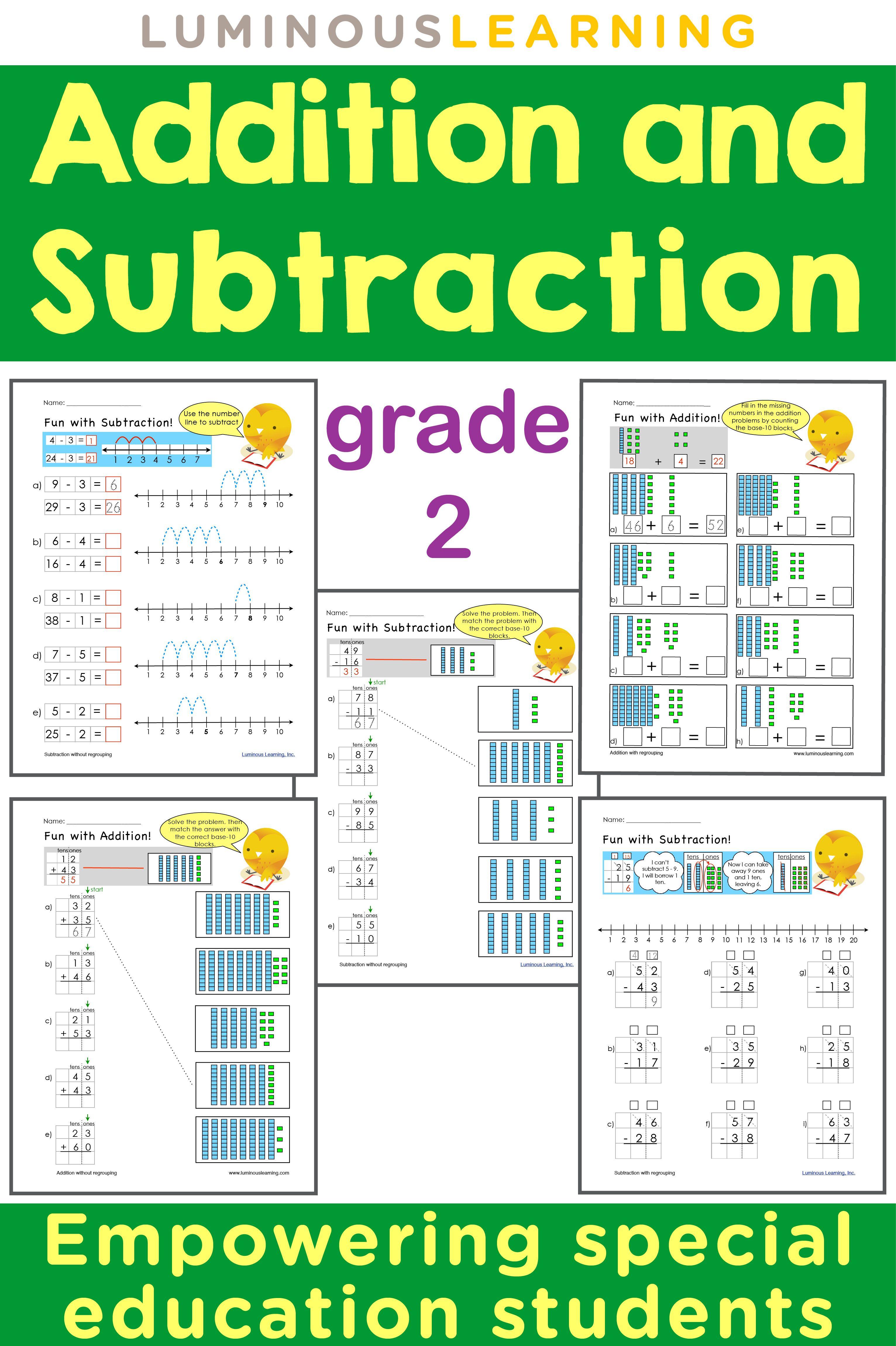 grade 2 addition and subtraction workbook making math visual bundle visual aids graph paper. Black Bedroom Furniture Sets. Home Design Ideas