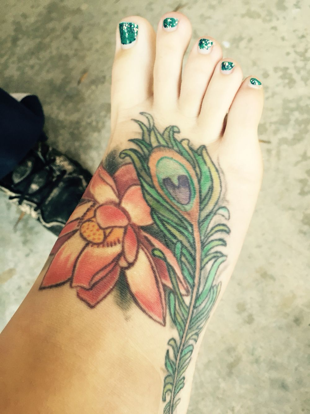 Lotus And Peacock Feather On My Foot Flower Tattoo Paw Print Tattoo Print Tattoos