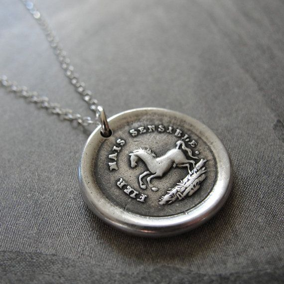 Horse wax seal necklace - High Spirited Yet Sensitive - French antique wax seal jewelry