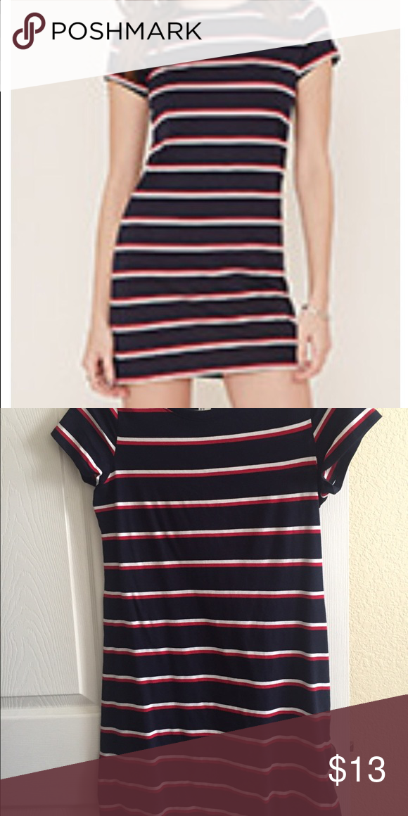87115d3df957 Striped T-shirt dress Tight form fitting curve hugging tee shirt stripe  dress from forever 21. Worn one time. Size M
