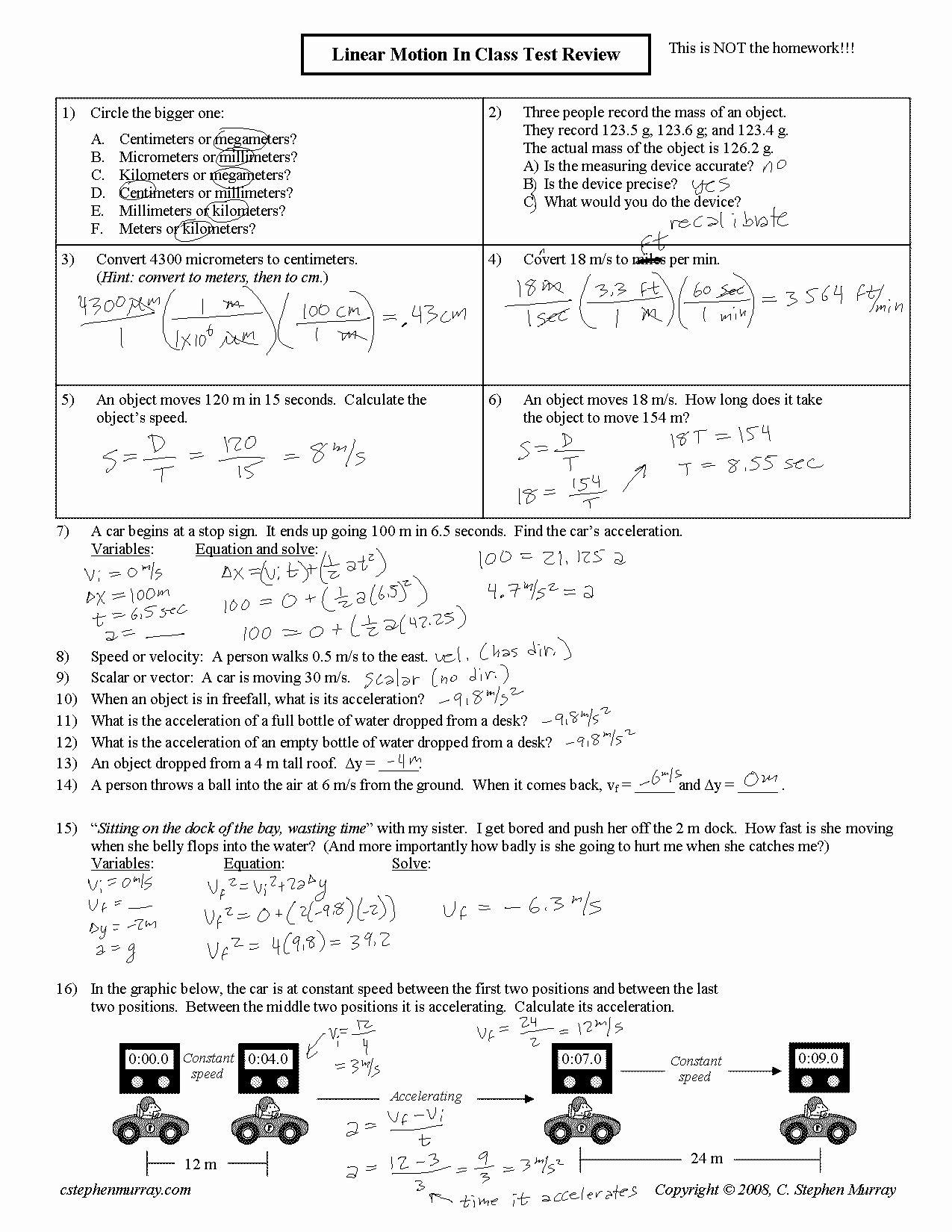 Kinematics Practice Problems Worksheet Unique Kinematic