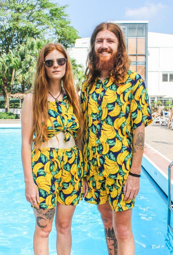 35c90c2b05 COUPLES BANANA MATCHING Outfits for festivals, beach parties, holidays or  honeymoons