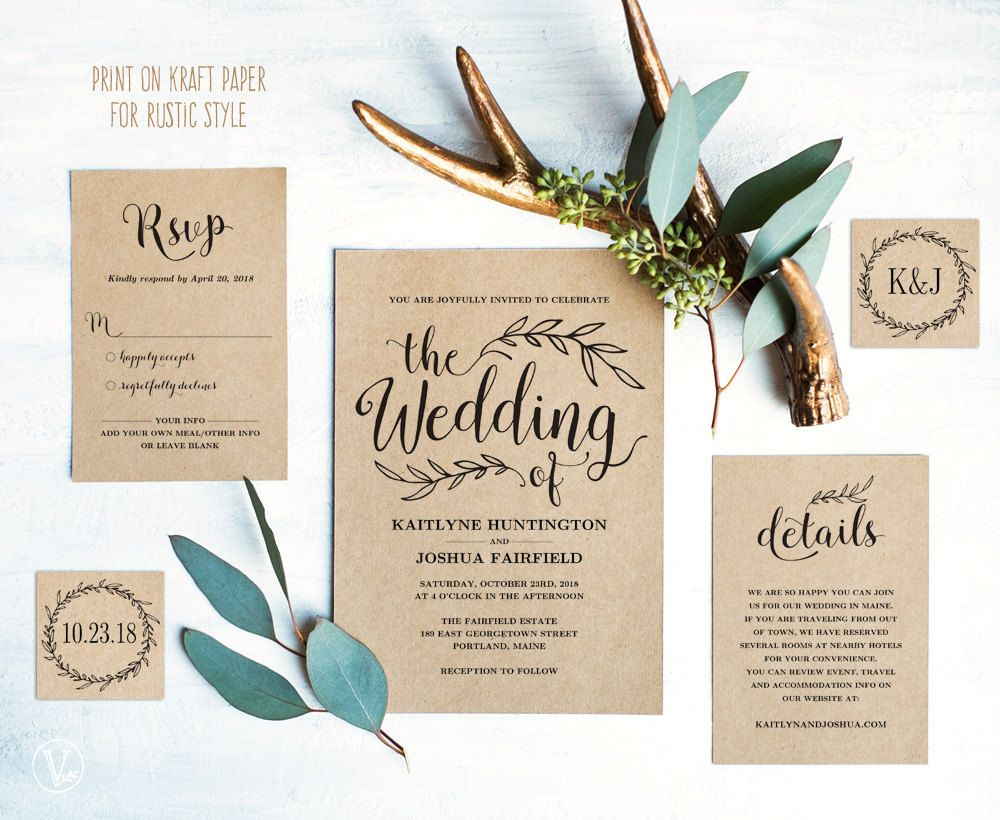 Vintage Wedding Invitation Template, Rustic Wedding invitation Set