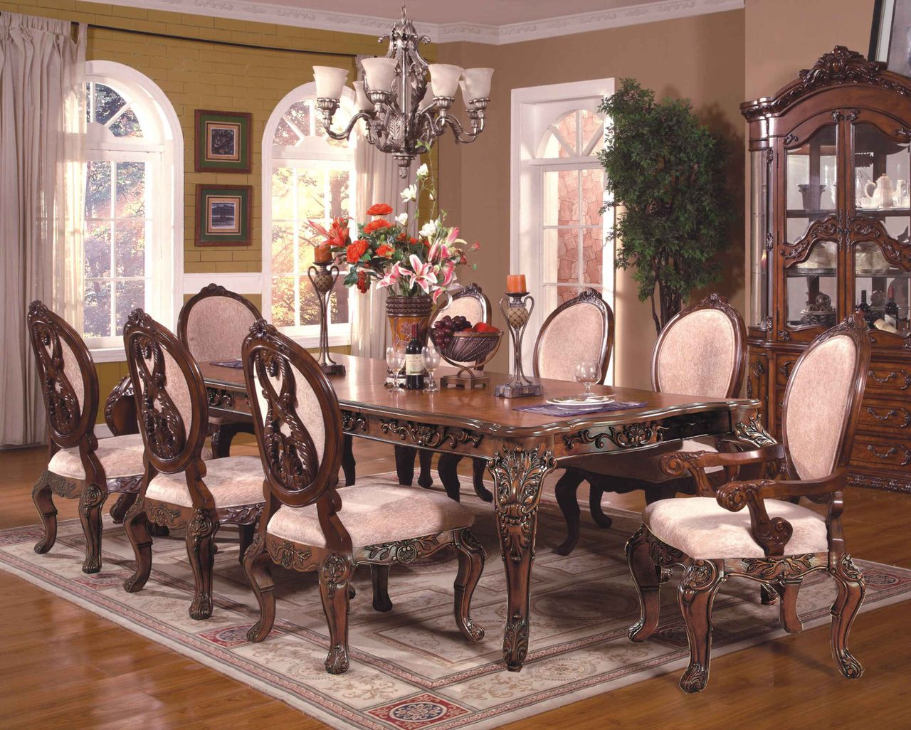 Abbyville 108 Cherry Extendable 9 Pc Dining Table Set Formal