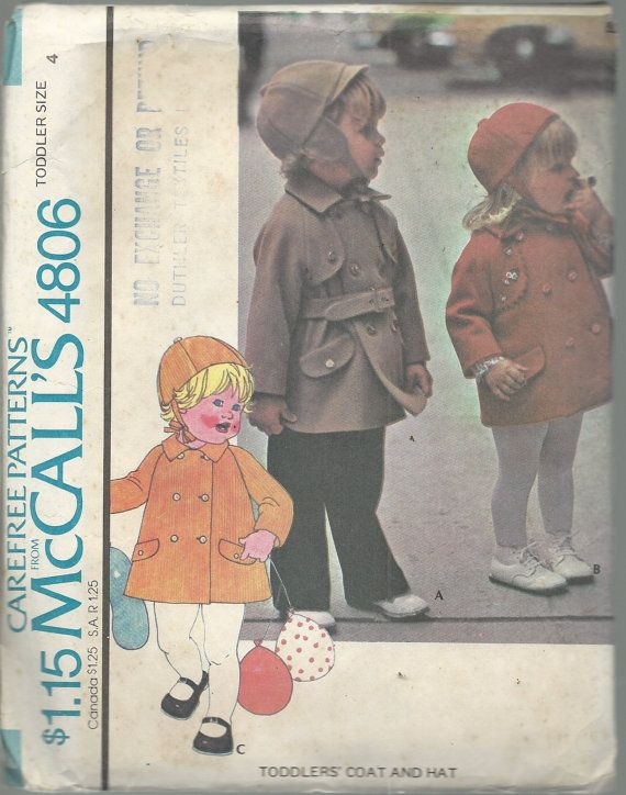 2dc151a59f6 PATTERN  MCCALLS PATTERN   4806 - CAREFREE PATTERNS C. 1975 TODDLERS COAT  AND HAT SIZE  TODDLER SIZE 4 Lined