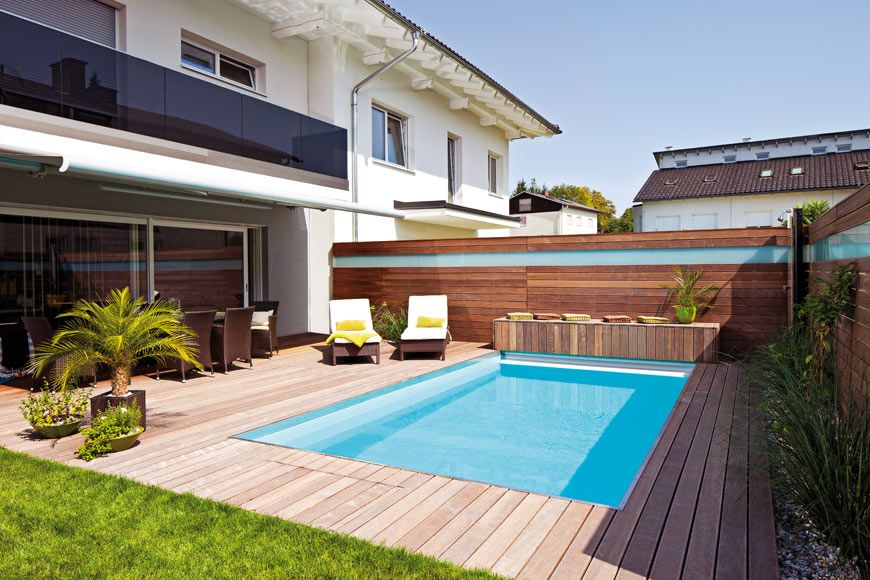 schwimmbecken im garten eines reihenhauses | squees | pinterest, Gartenarbeit ideen