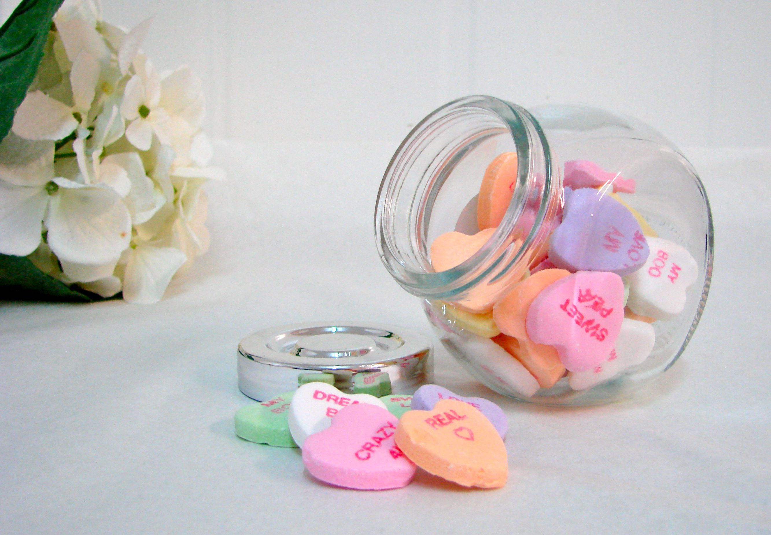IKEA jar filled with conversation hearts <3 | Celine bday ...