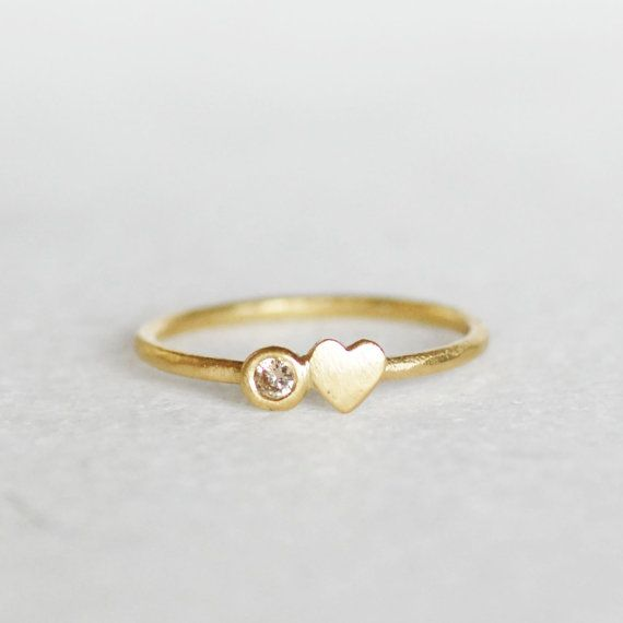 Diamond Heart Stacking Ring 1 3mm Band Choose by LilianGinebra