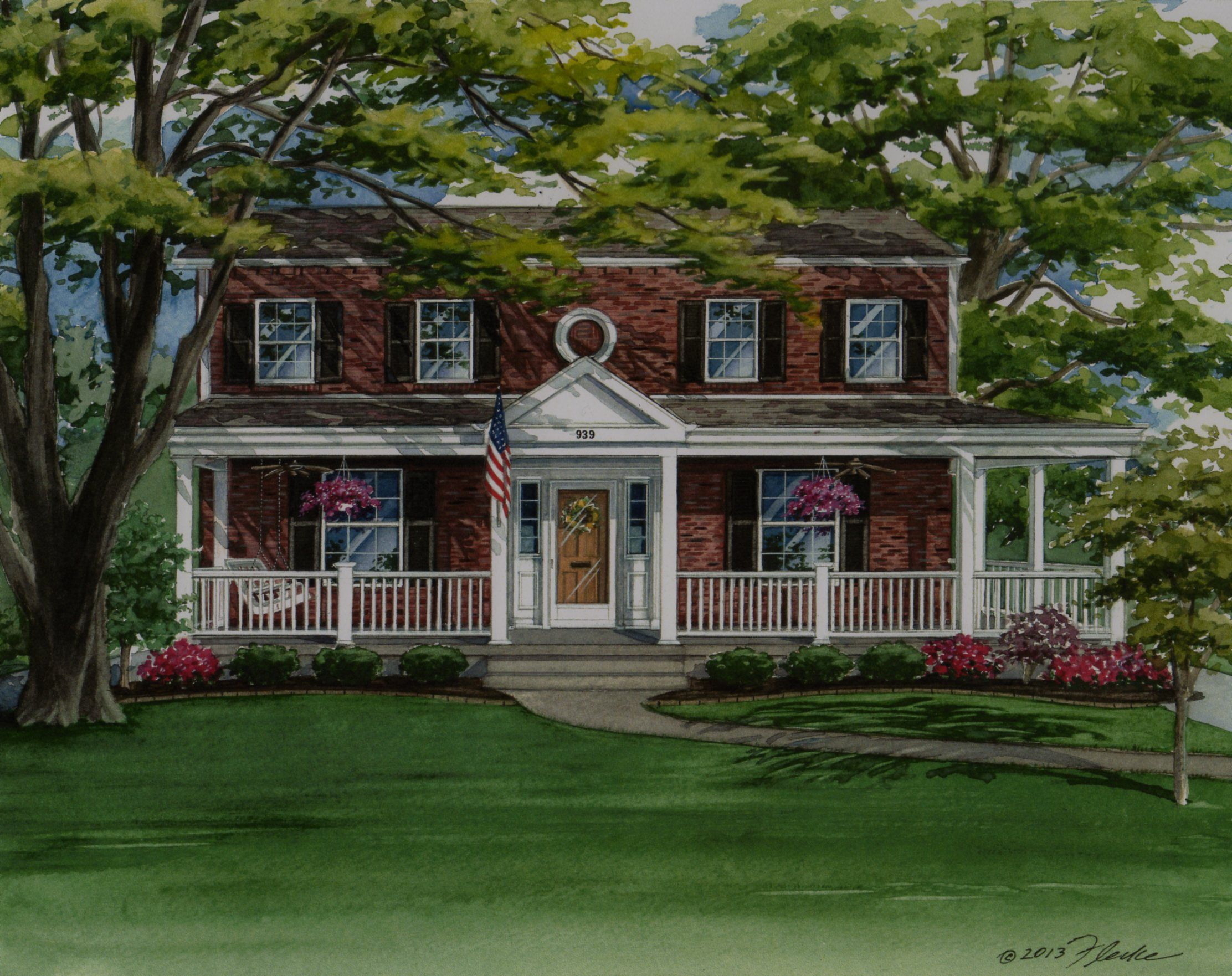 Custom house portrait of colonial style brick home in - Front porch designs for brick homes ...