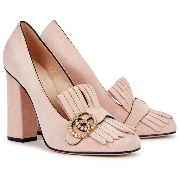 d711f358eef9 Gucci Pink Fringed Suede Loafers - Size 2.5 (2