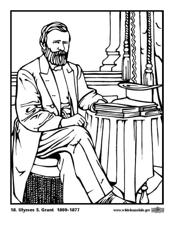 Coloring page 18 Ulysses S. Grant