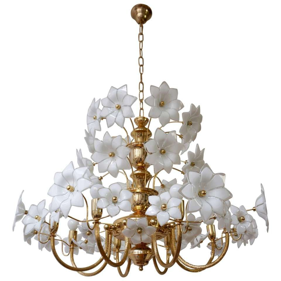 Huge Brass And Murano Glass Flowers Chandelier 1 Glass Flowers
