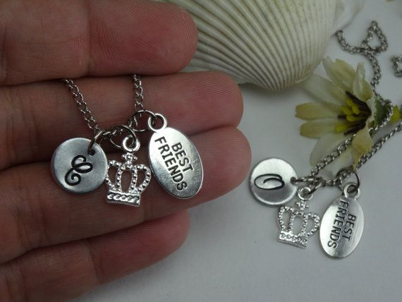 2 Best Friend Crown Initial Necklace, Initial Hand Stamped Best Friends Necklaces, Crown Necklace