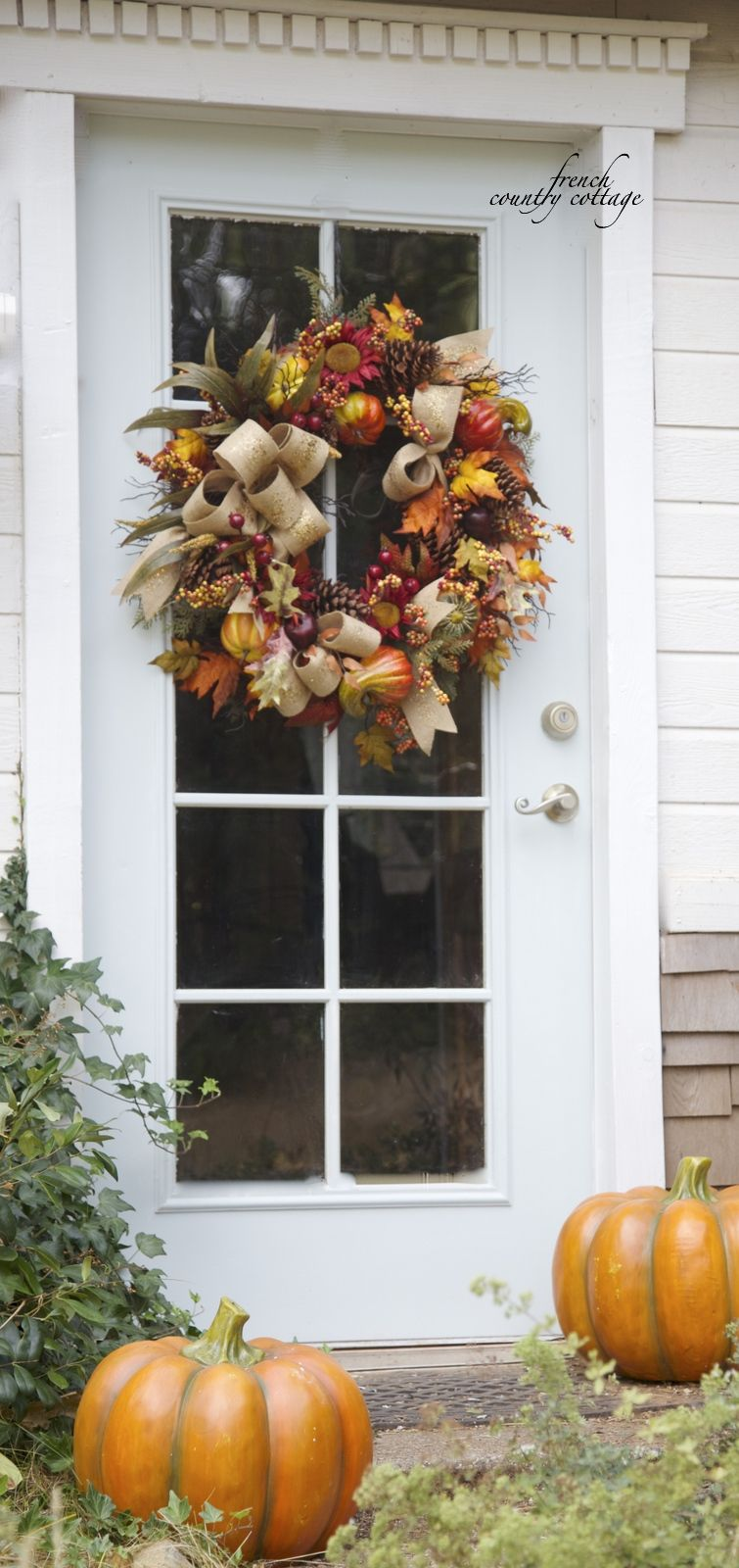 So Pretty - Simple Fall Door Decor ! French Country Cottage | Fall ...