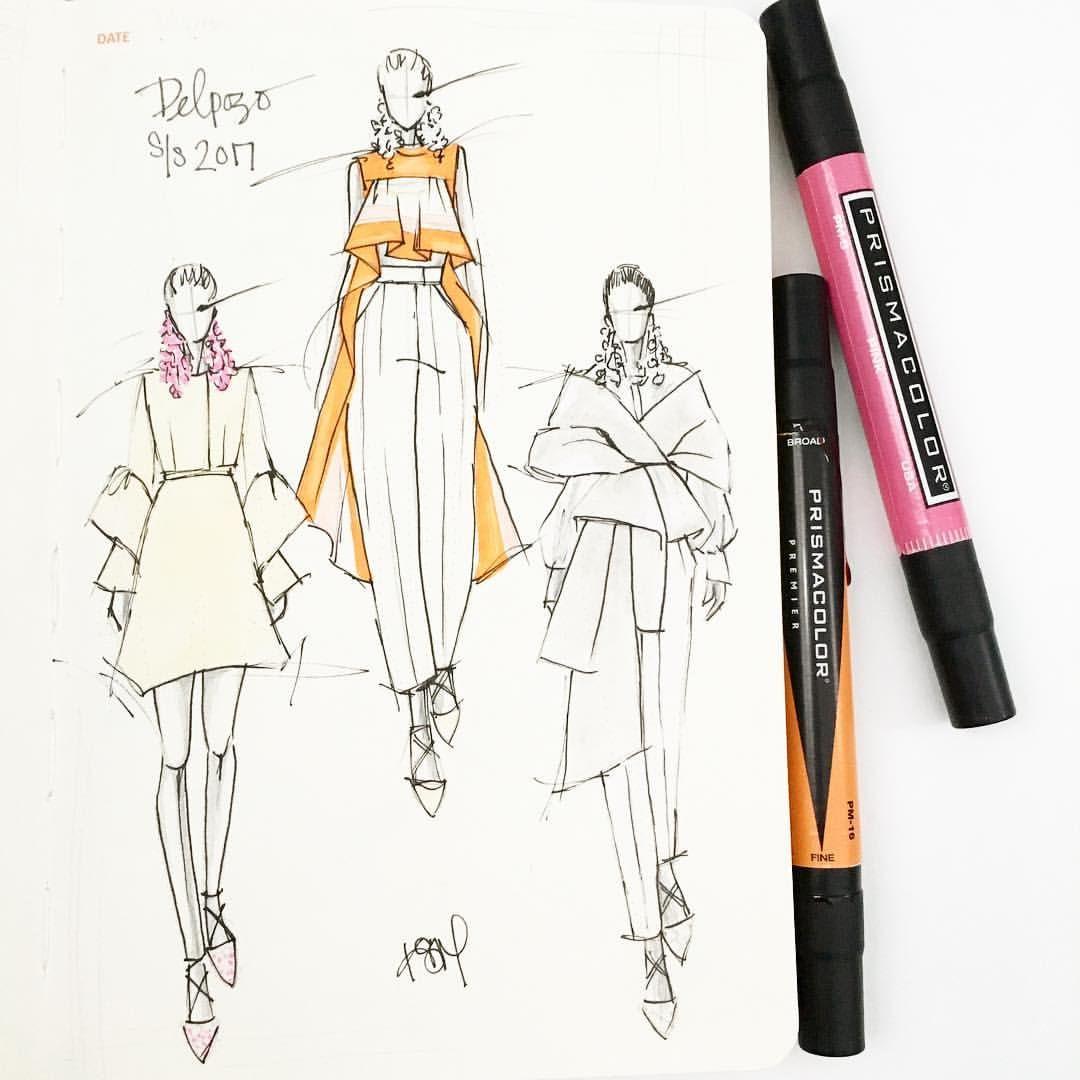 "Photo of Kelly Muschiana on Instagram: ""@delpozo ALWAYS so fresh 🌸🌼🌸 #ss2017 sketch in my @fashionary journal #kellymuschianaillustration #fashionart #fashionillustration…"""