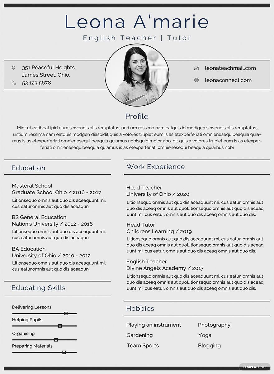Free English Teacher CV Template in 2020 Teacher cv
