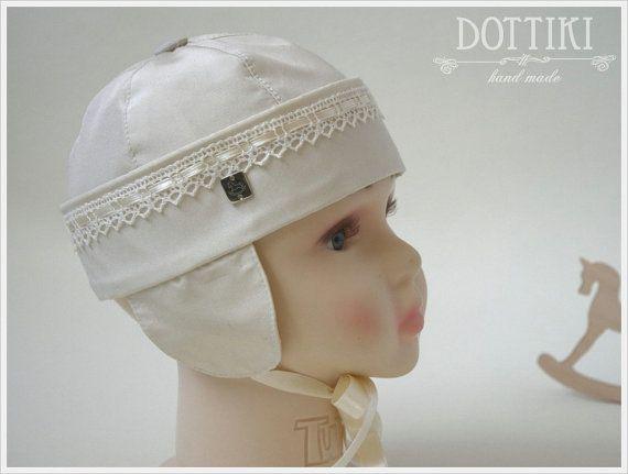 c57f8cd330862 Baby Boy Christening Hat Silk Bonnet Baby Hat Baby Cap by DOTTIKI