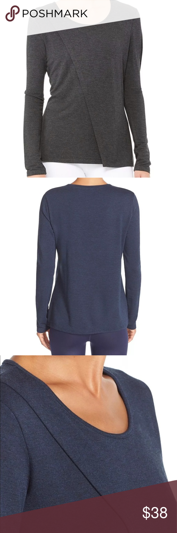 """New Alo Yoga Kira Long Sleeve Top Small Alo Kira Asymmetrical Long Sleeve Top from Nordstrom BRAND NEW WITH TAGS - STILL IN ORIGINAL PACKAGING STYLE: W3216R COLOR: CHARCOAL HEATHER SIZE: SMALL An asymmetrical draped front adds contemporary edge to a flattering, long-sleeve terry top ideal for keeping you cozy before and after your workouts. 26 1/2"""" length (size Medium). 95% rayon, 5% spandex. Machine wash cold, tumble dry low. By Alo; imported. ALO Yoga Tops Tees - Long Sleeve"""