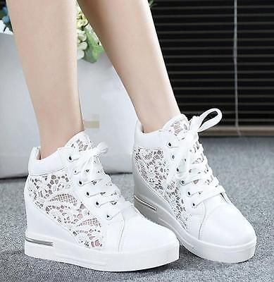 Details about Womens Round Toe Hollow Platform Wedge Shoes Lace Up High Top Sneakers Loafers #shoewedges