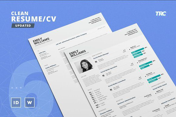 Clean Resume/Cv Template Volume 6 by TheResumeCreator on - resume builder templates