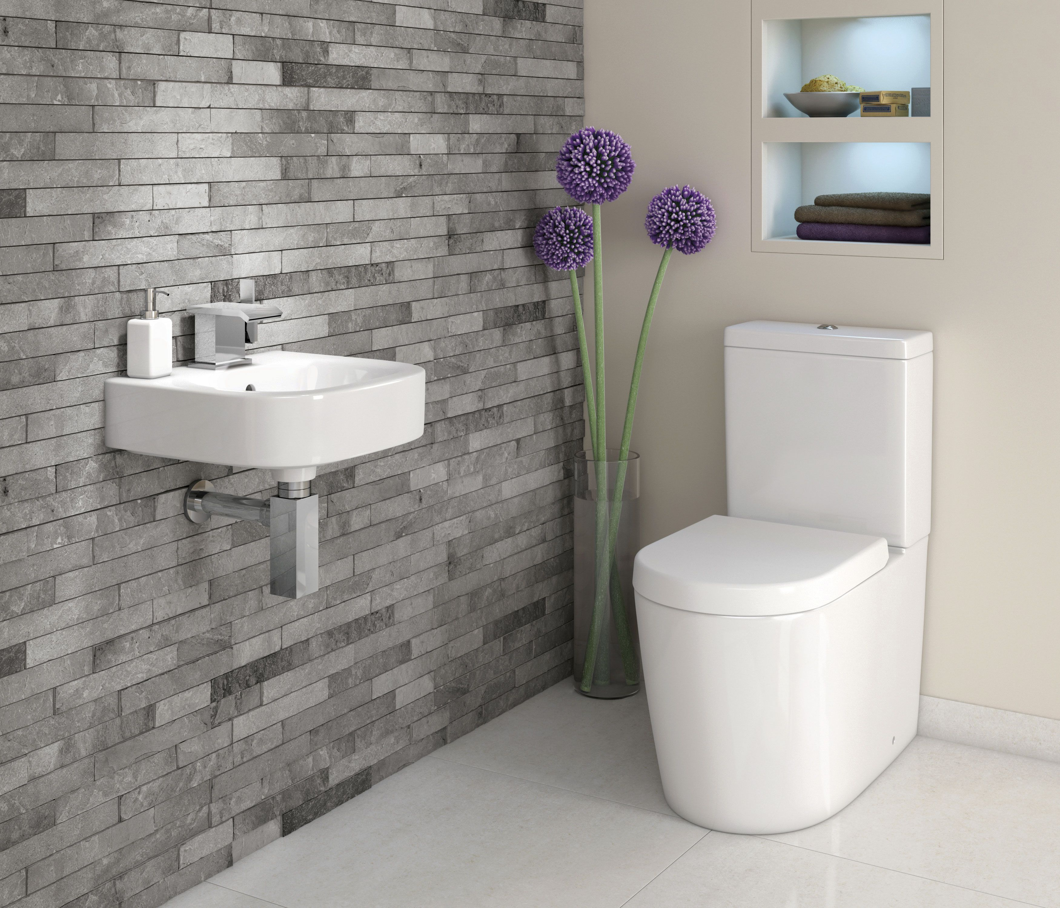 we adore this white and grey bathroom complete with lavish basin one tiled wall cloakroom grey colour scheme