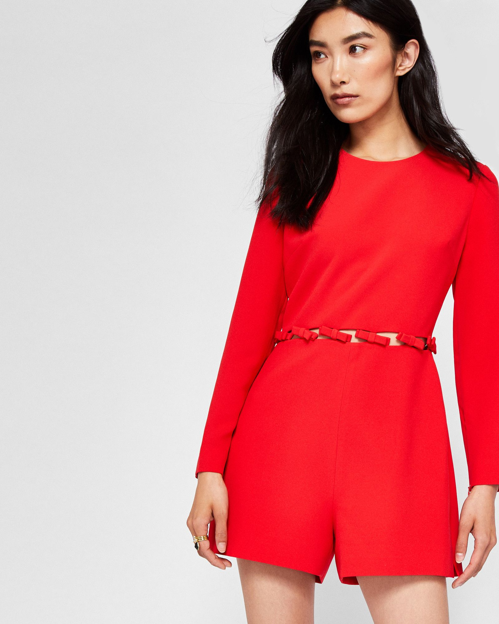 81dab68b06 Ted Baker Cut-out bow playsuit Bright Red