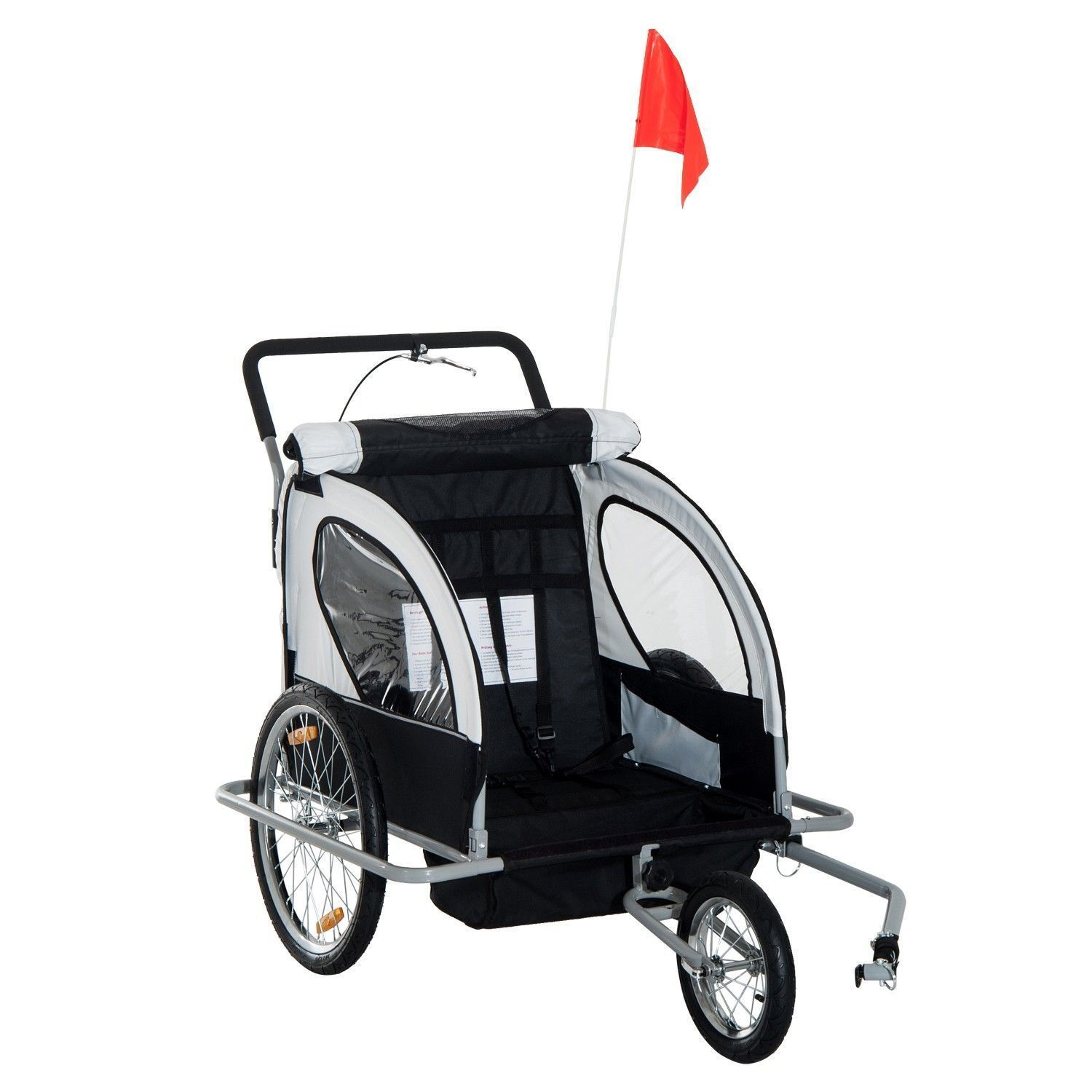 Child Bike Trailer and Stroller Double 2in1 Black