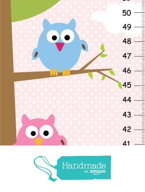 Personalized Height Chart For Kids Owl Growth Chart Blue And Pink