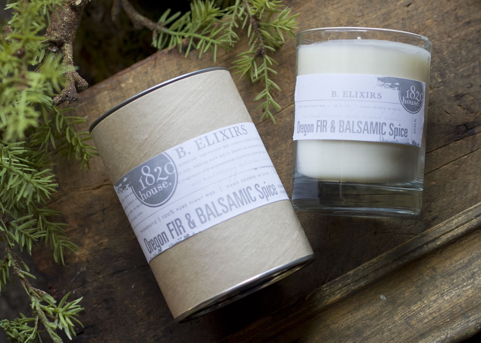 B. Elixirs for the Holiday.  1820 House Candle Co.  Aromatherapy Candle Silver Packaging Design