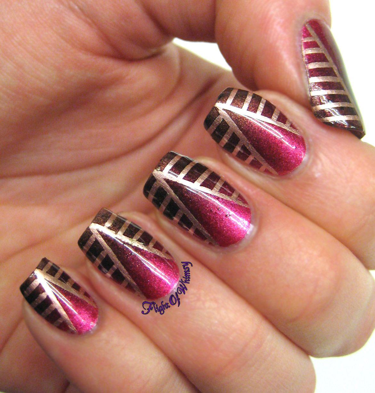 Aztec Sunset | Nail art 2014, Tape nail art, Trendy nail art