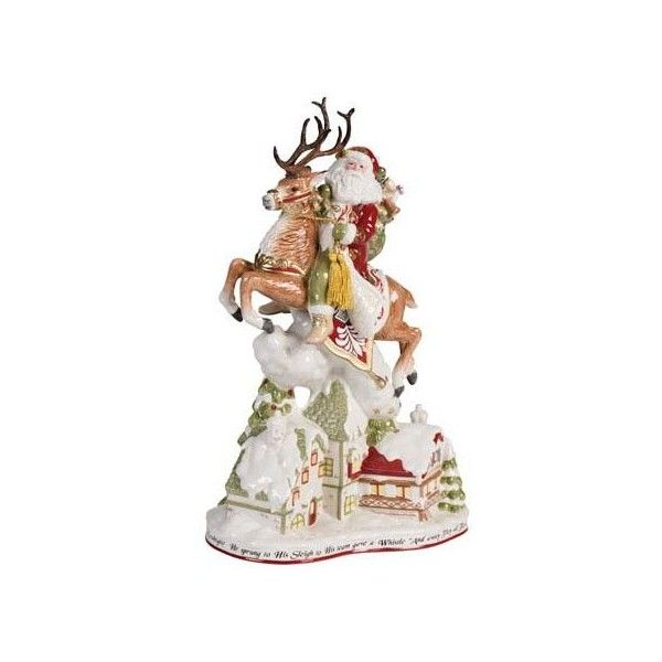Fitz and Floyd Damask Holiday Up On The House Top Santa Figurine
