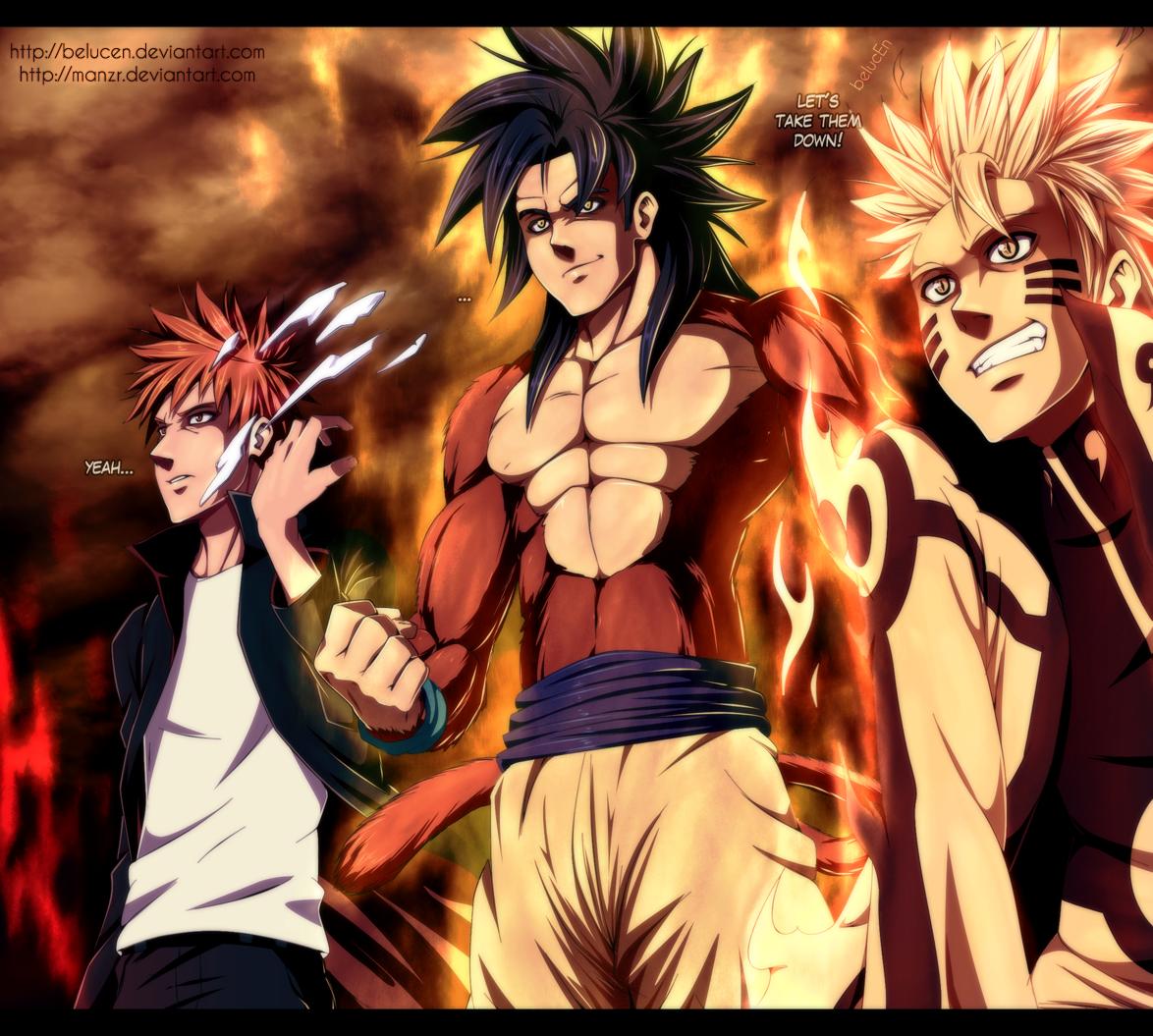 Ichigo (Bleach), Goku (DBZ), Naruto (Naruto) Anime