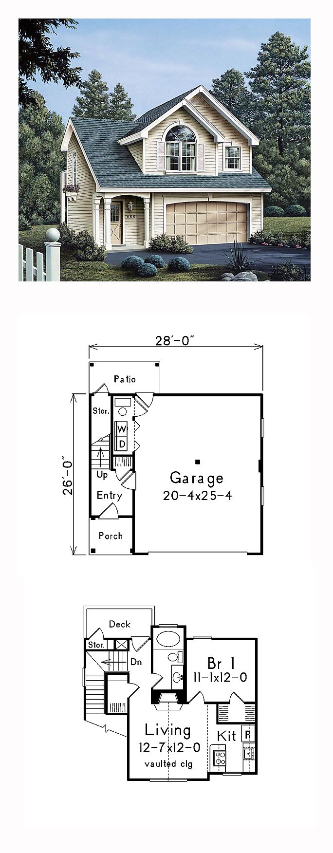 Traditional Style Garage Living Plan 86903 With 1 Bed 1 Bath 2 Car Garage Carriage House Plans Garage Apartment Plans Garage Apartment Plan