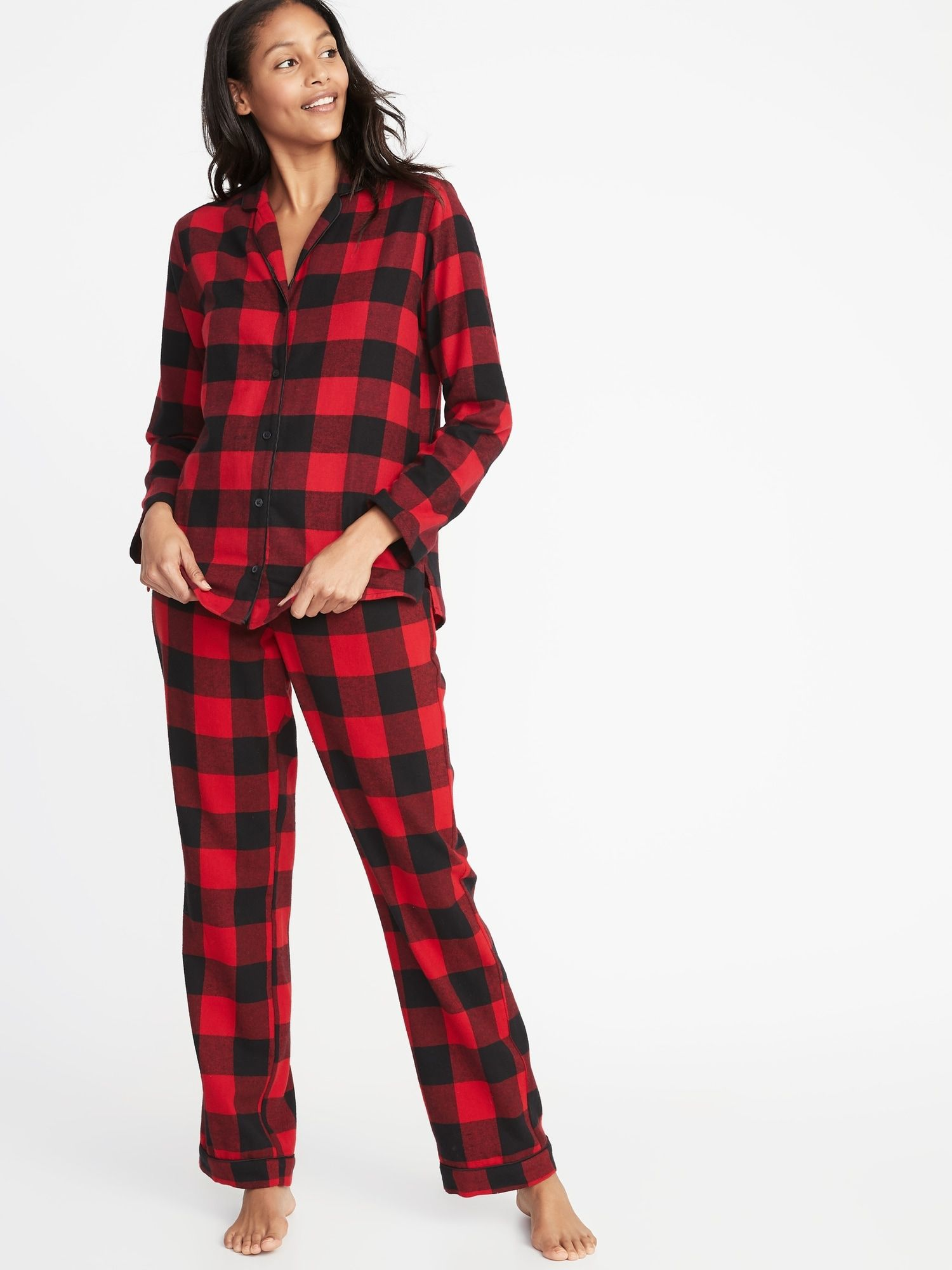 Patterned Flannel Pajama Set for Women Wish List