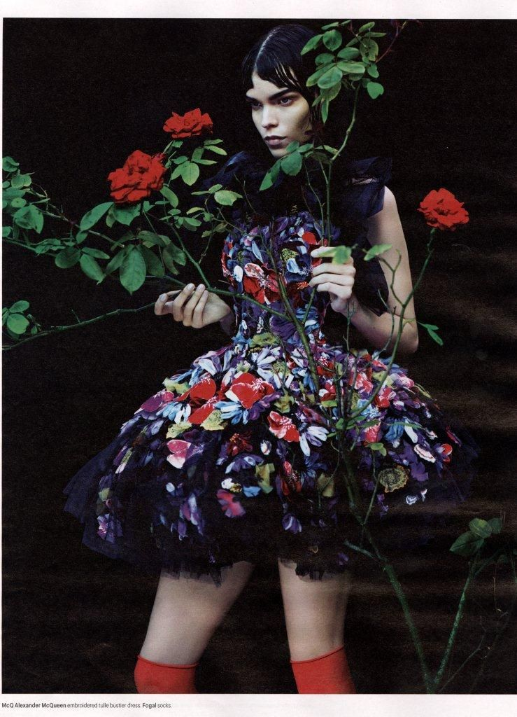 Alexander McQueen embroidered tulle bustier dress
